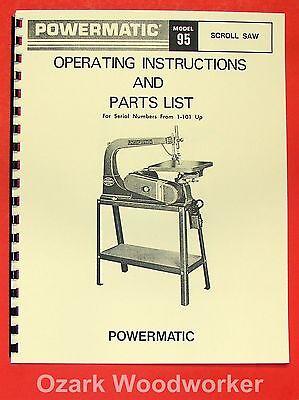 Powermatic 95 Scroll Saw Parts Operators Manual 0556
