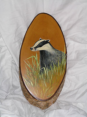 Beautiful Painting of a Badger on Slice of Wood by Rosemary Timney