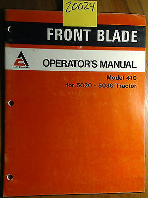 Allis-chalmers 410 Front Blade For 5020 5030 Tractor Owner Operator Manual 1278