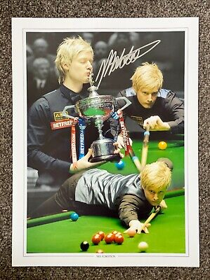 SALE NEIL ROBERTSON SNOOKER HAND SIGNED PHOTO AUTHENTIC + COA - 16x12
