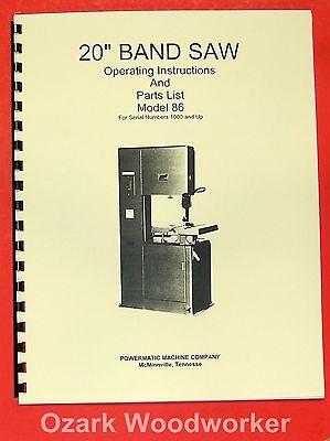 Powermatic 86 20 Band Saw Model Operatingparts Manual 0523
