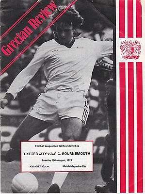 EXETER CITY V BOURNEMOUTH  LEAGUE CUP  15/8/78