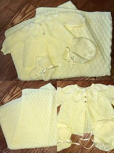 Beautiful hand knitted blanket, sweater, bonnet & boot set