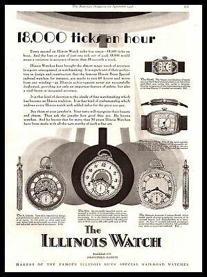 "1928 Illinois Pocket Watches ""18,000 Ticks An Hour"" Springfield Vintage Print Ad"