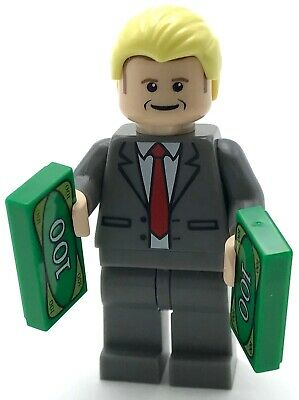 Lego New Donald Trump Minifigure with Red Tie and Money President Republican
