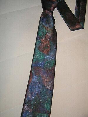 Krawatte mit blaugrün und lila abstraktem Muster