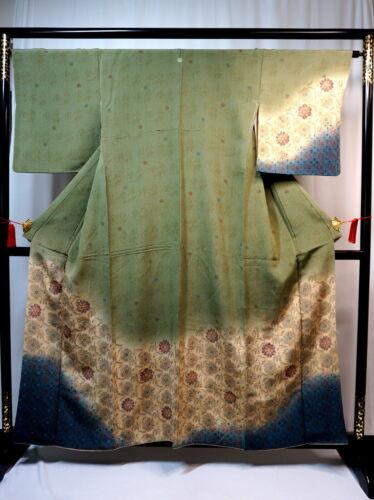 "Japanese kimono  ""HOUMONGI"" SILK, crepe, three colors of Green, etc.. L 61"".1859"