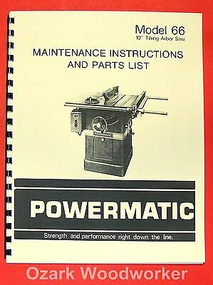 Powermatic 66 Table Saw Instruction Part Manual 0558