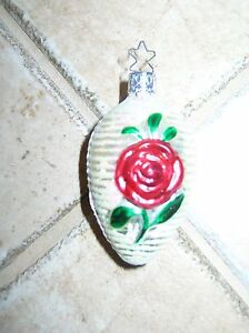 VINTAGE OLD WORLD CHRISTMAS GERMAN ROSE CHRISTMAS ORNAMENT