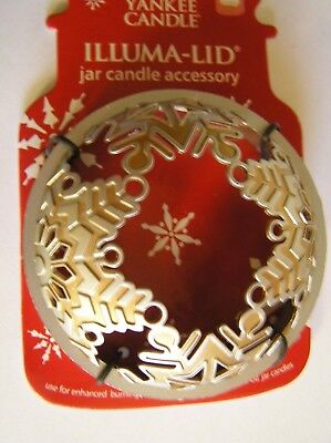 Gold Christmas Candle - Yankee Candle Christmas Gold Silver Snowflakes Illuma Lid Topper New Free Ship