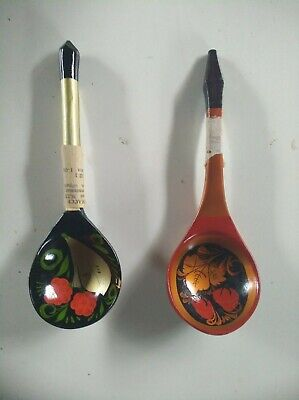 ANTIQUE OLD VINTAGE RUSSIAN SOVIET UNION (USSR) PAINTED WOODEN SPOONS 2 PIECES