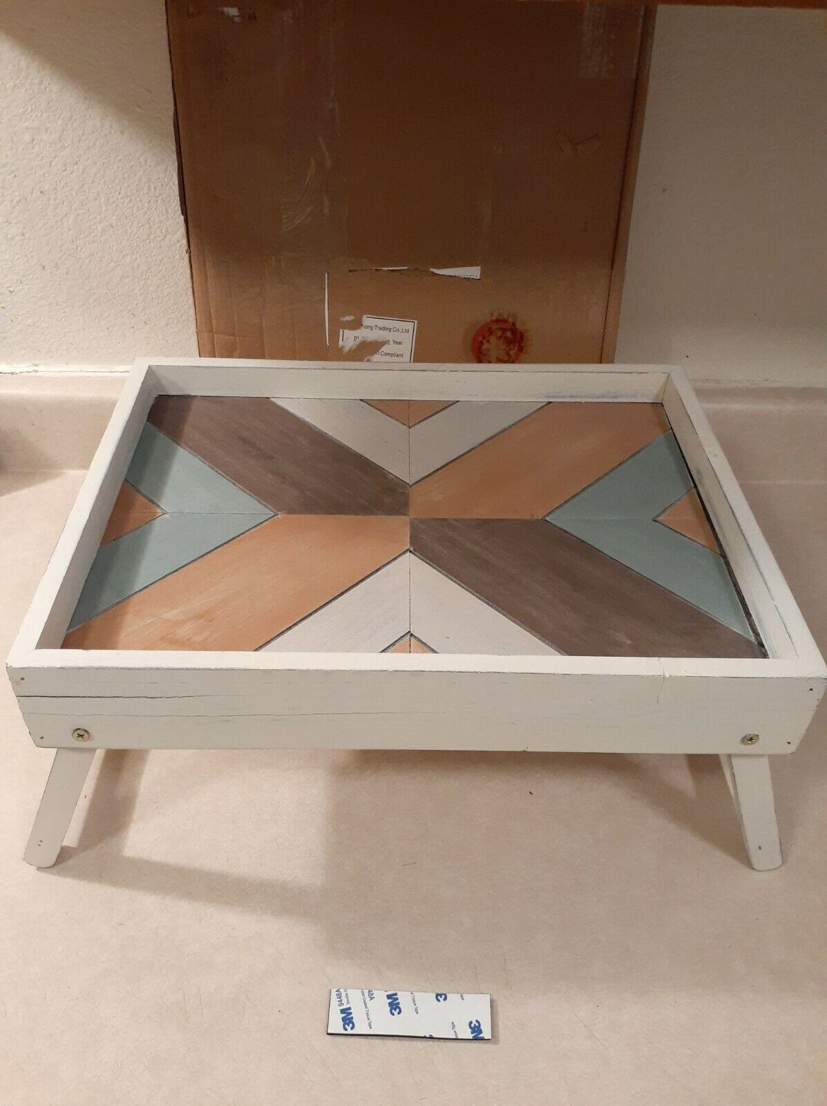 MyGift Vintage Multicolored Whitewashed Wood Breakfast in Be