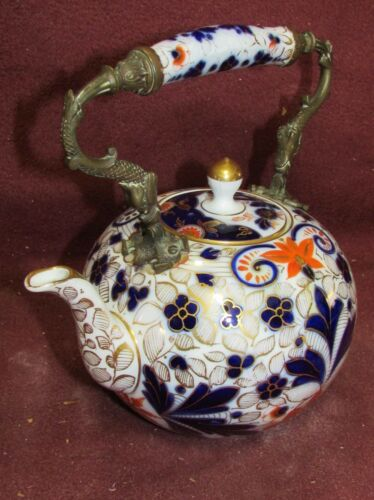 Antique English Teapot Imari Style Porcelain with Bronze Dolphin Handle