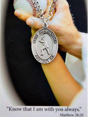 "Pewter Boys Baseball St. Christopher Protection Medal on 24"""