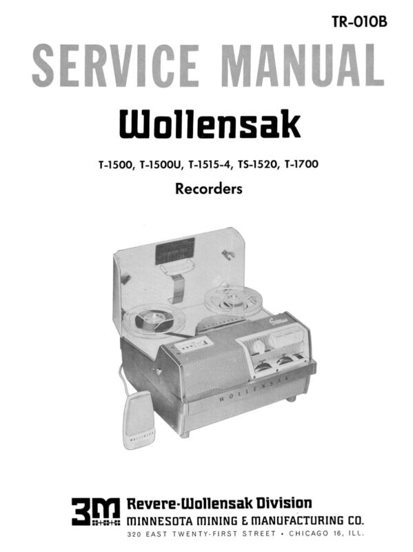 Wollensak T-1500 T-1700 Service Manual