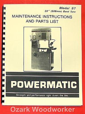 Powermatic 87 20 Band Saw Instruction Part Manual 0521
