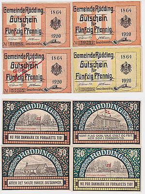 4 x 50 Pfennig Banknoten Notgeld Gemeinde Rödding Dänemark 10.2.1920 (122063)
