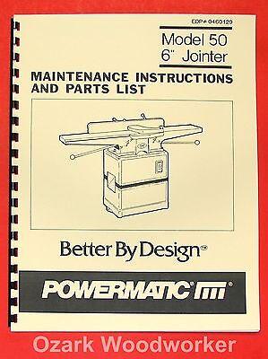 Powermatic 50 New 6 Jointer Operator Part Manual 0529