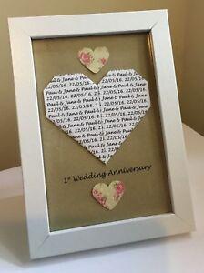 Personalised 1st Wedding Anniversary heart frame gift. Paper Anniversary.