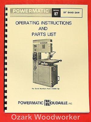 Powermatic 87 20 Older Band Saw Operators Parts Manual 0552
