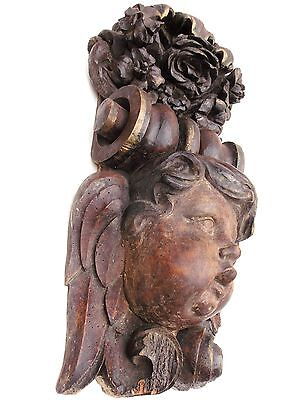 LARGE ANTIQUE CARVED WOODEN CHURCH BEAM ANGEL.