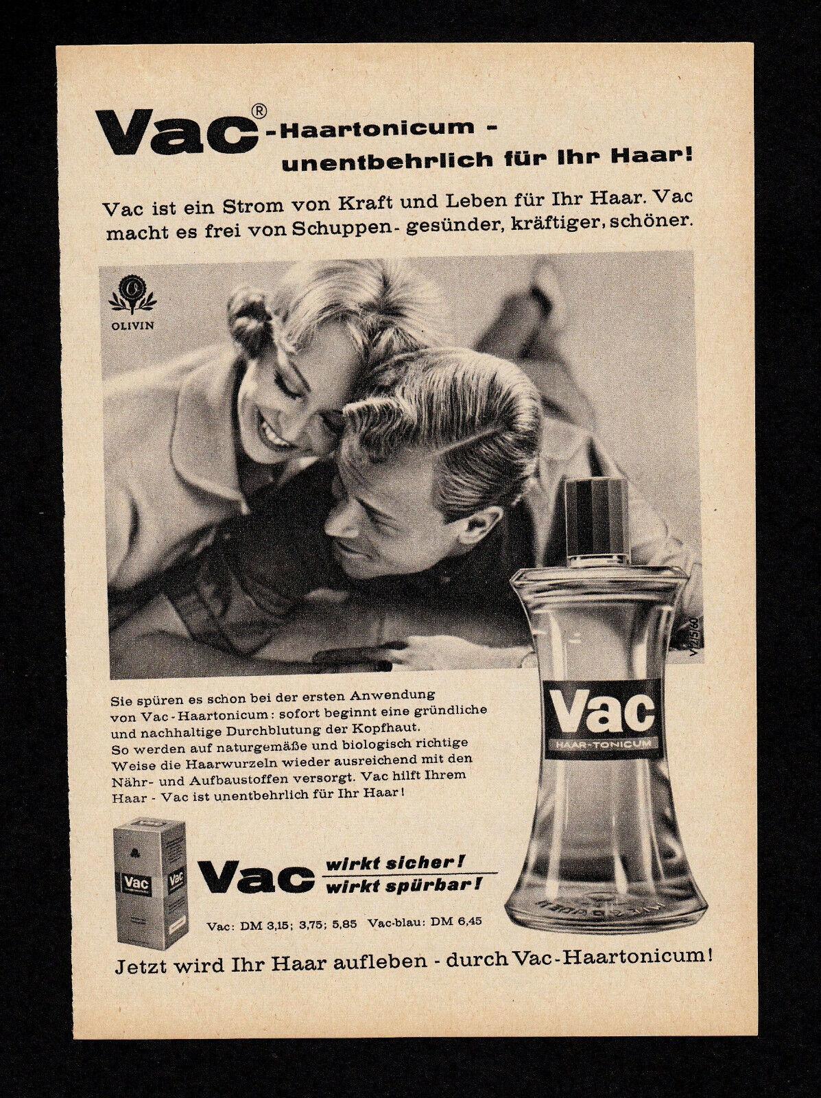 3w4591/ Alte Reklame von 1960 – VAC Haartonicum – unentbehrlich für Ihr Haar.