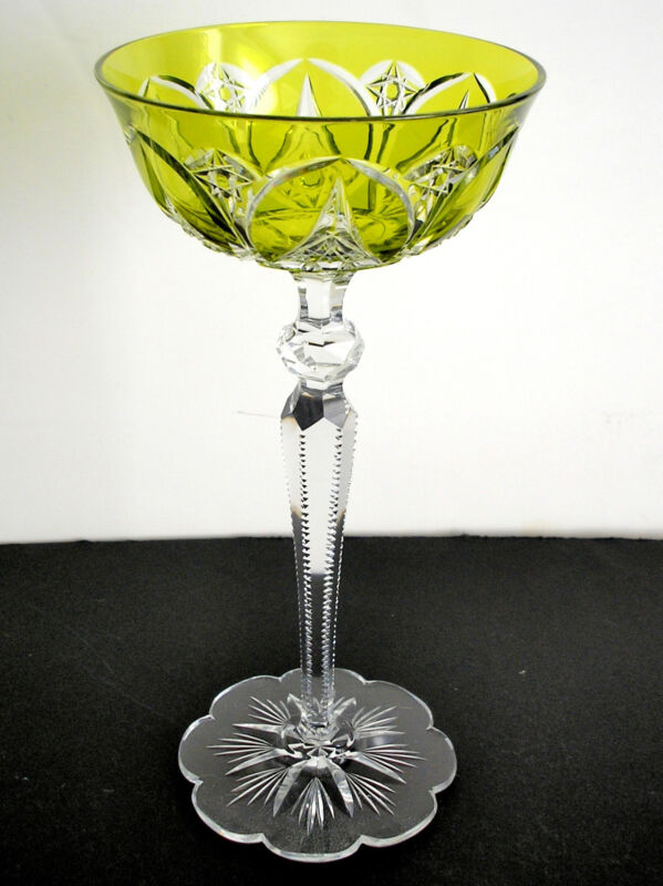 BACCARAT VAL ST LAMBERT ? VINTAGE LIME PARIDOT CASED CUT CLEAR WINE GOBLET