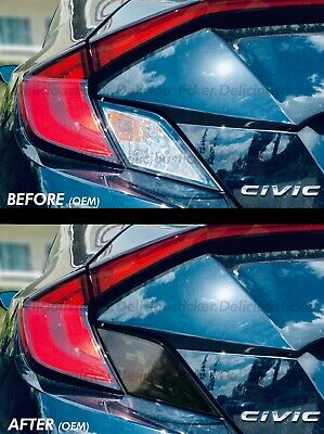 2016-2020 Civic COUPE SMOKE Tail Light Rear Signal Reverse Overlays PreCut Vinyl