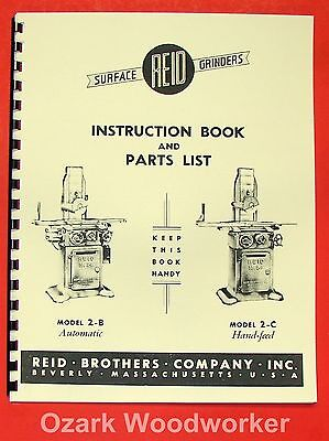 Reid 2b 2c Surface Grinder Operators Parts Manual 0574