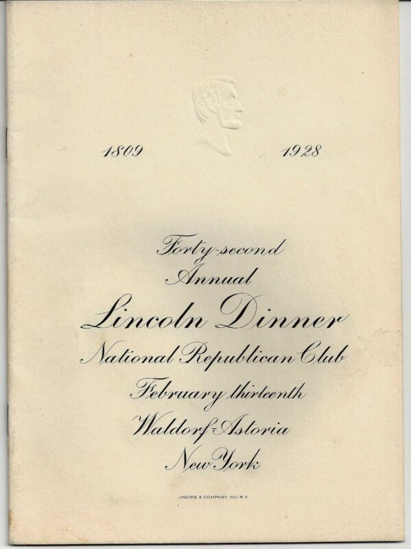 42 Annual LINCOLN DINNER of the National Republican Club. Waldorf Astoria, NY.