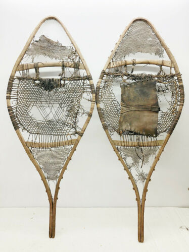 """Old Antique Vintage 18"""" X 44"""" Rustic Snowshoes For Decor or Arts And Craft. F/S"""