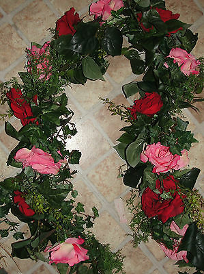 6 foot Garland Beauty Red Pink Rose High End Floral Window Door Shabby Chic (Red Rose Wreath)