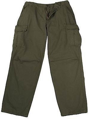 (Vintage Vietnam Fatigue Cargo Pants Rip-Stop - Olive Drab 100% Cotton Rip-Stop)