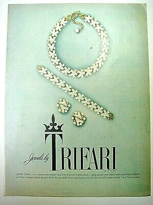1954 Jewelry Ad TRIFARI Snow Coral Necklace Bracelet Earrings Gold White Jewels