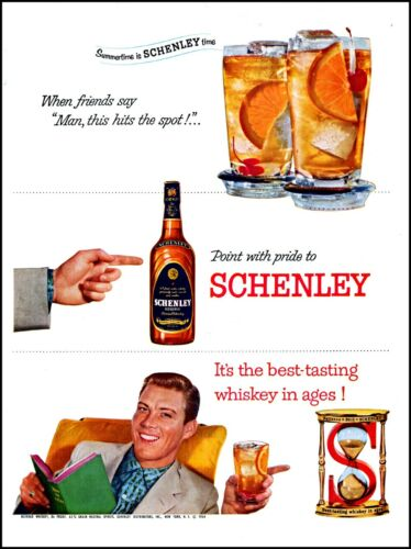 1954 Schenley whiskey man reading timepiece glasses vintage art Print Ad adL66