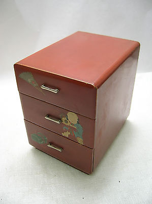 Antique Wooden Sewing Box Japanese Drawers Circa 1930s #190