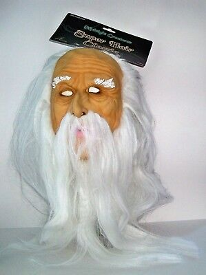 ADULT OLD MAN WIZARD FULL LATEX MASK WITH WHITE HAIR & BEARD COSTUME SEZ17619AY - Old Men Costume