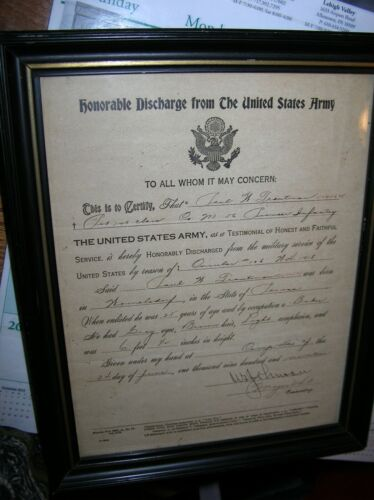 2 SIDED FRAMED ENLISTMENT 1918 & HONORABLE DISCHARGE US ARMY 1919  PAUL TROUTMAN