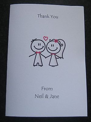 Personalised Wedding Thank You Cards (WF4) 10/20/30/40/50 Pack