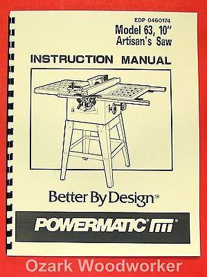 Powermatic 63 10 Artisans Table Saw Op Part Manual 0532