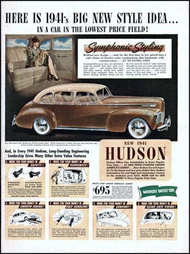 1940 Hudson 1941 Car woman passenger symphonic style vintage photo print ad L23