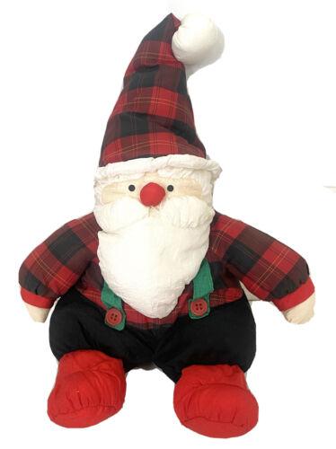 Department 56 Santa Plush Toy Decor Puff-A-Lump Buffalo Plaid Christmas