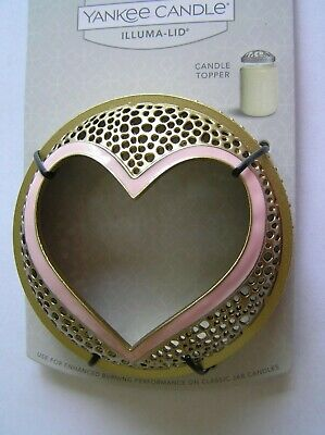 YANKEE CANDLE PINK GOLD HEART ILLUMA LID TOPPER NEW ON CARD FAST FREE SHIPPING ()