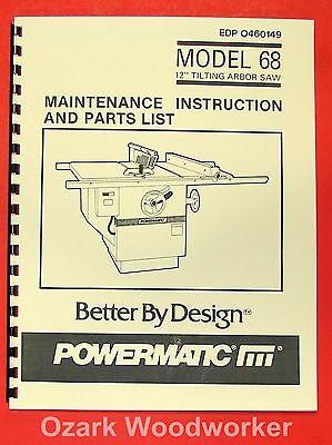 Powermatic 68 New Table Saw 12 Operator Parts Manual 0533