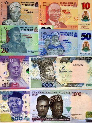 Complete SET, Nigeria, 5-10-20-50-100-200-500-1000, 2014-2016, UNC