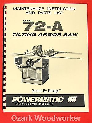 Powermatic 72a Table Saw Operator Parts Manual 0535
