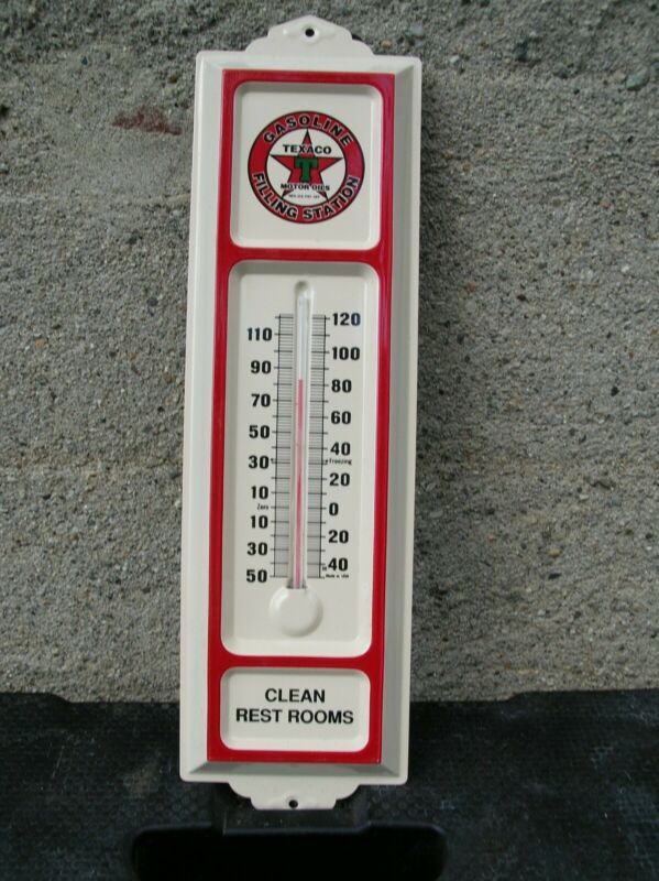 Texaco Motor Oils~ Embossed Gas Station Tin Advertising Thermometer New