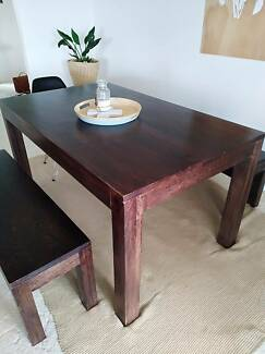 Timber dining table and bench seats