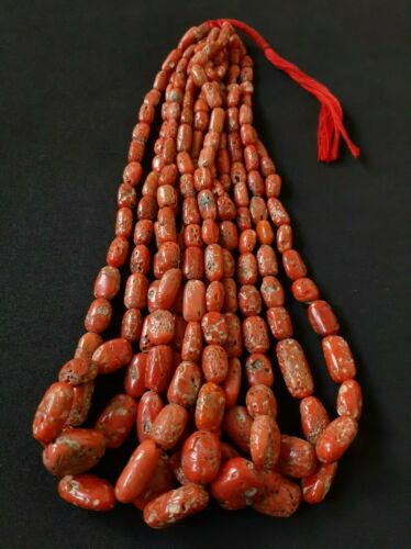 """100% Natural Italian Sea Red Coral Hand-Cut Beads 20""""Inch, Undyed untreated."""