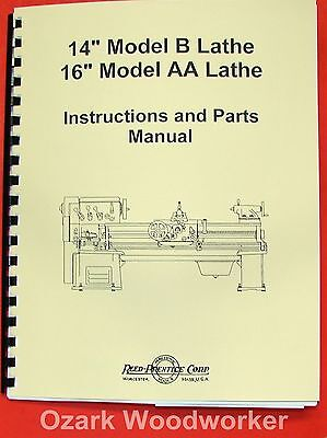 Reed Prentice Metal Lathe 14 B 16 Aa Owners Manual 0573